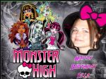 A4 Personalised Photo in Monster High Frame Edible Icing or Wafer Cake Topper
